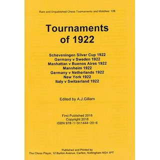 Anthony J. Gillam: Tournaments of 1922